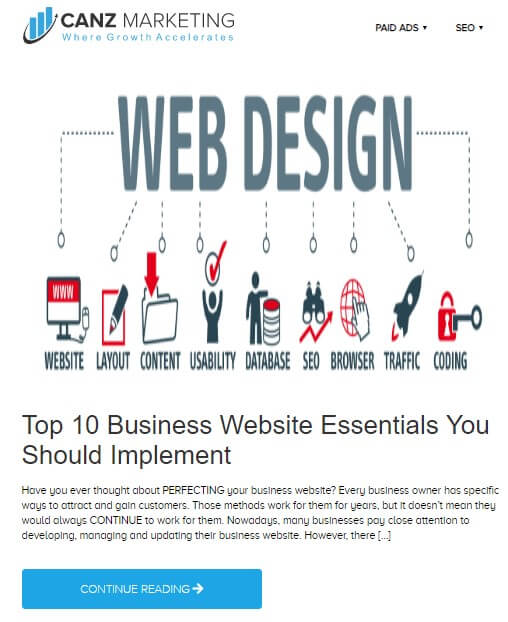 A blog from Canz Marketing titled *Top 10 business Website Essentials You should implement* showing a picture that has *Web design* written over it. A number of lines draw out from this writing and connect some images and text to it.