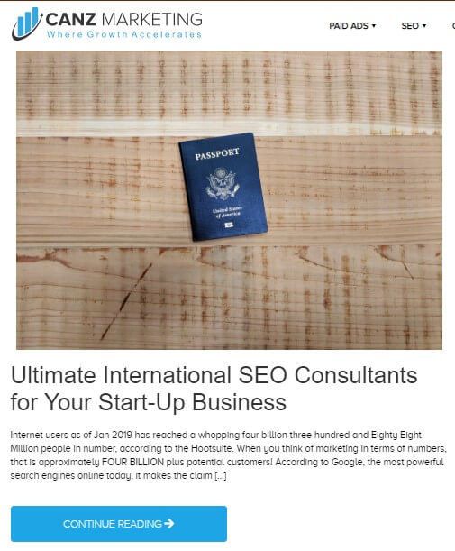 A blog from Canz Marketing titled *Ultimate International SEO Consultants for Your Start-Up Business* showing a wooden surface with a blue colored passport placed over it.