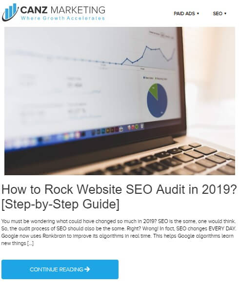 A screenshot of a blog from Canz Marketing titled *How to rock website SEO Audit in 2019? [Step-by-Step-Guide]. A laptop image is added over the blog showing different different stats and graphs.