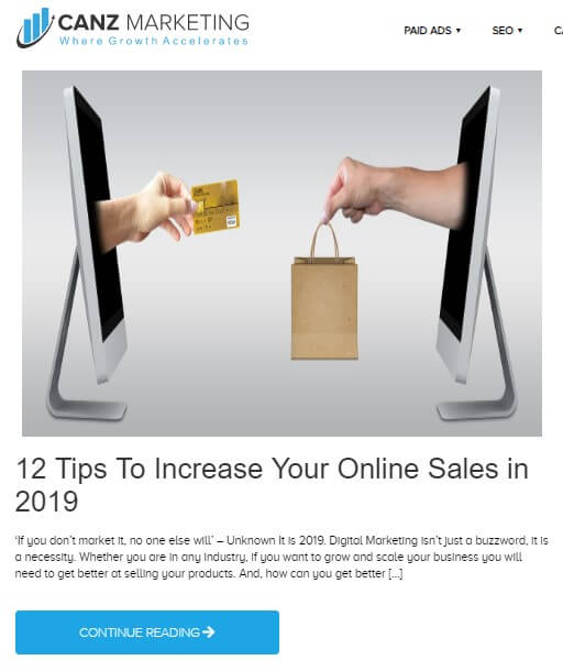 A blog from Canz Marketing titled *12 tips to increase your online sales in 2019* with a picture of 2 screen placed in front of each other. A hand is drawn out from each screen exchanging a credit card and a shopping back with each other i.e. showing the process of online purchase.