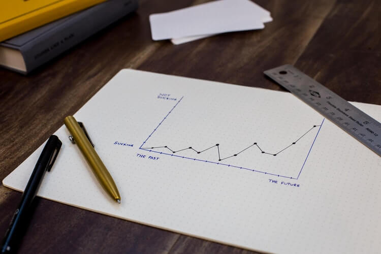 A hand-drawn success graph on paper
