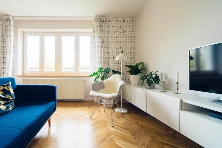 View of the bright living room of a modern apartment