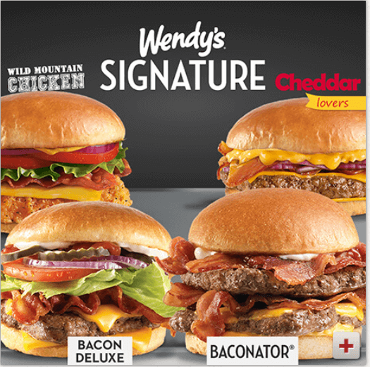 Four of Wendy's Signature burgers