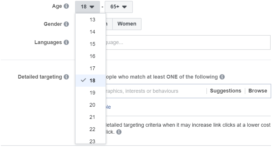 An image showing age-range option while creating a Facebook Ad in the business manager.