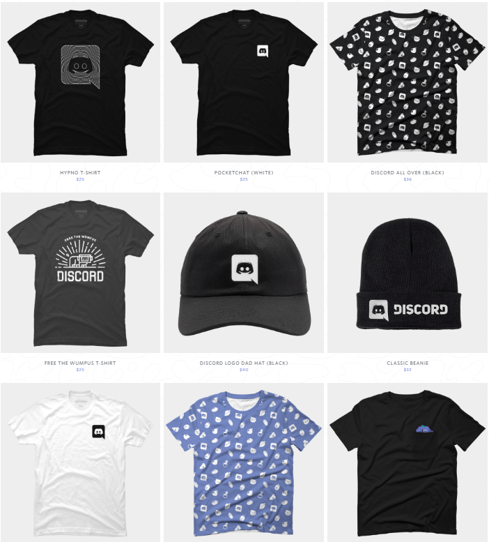 Some collection from Discord Merchandise store's website