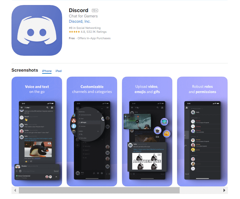 A screenshot of Discord App from play store showing its functionality.