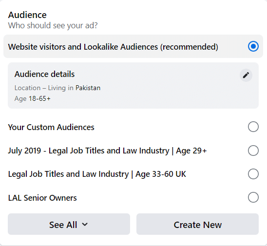 The audience selection window in the ad creation process directly through a Facebook page where you can pick your desired demographic age ranges to target.