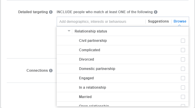 """Relationship-options"" in ""Demographics"" in the Ad creation process in Ads Manager."