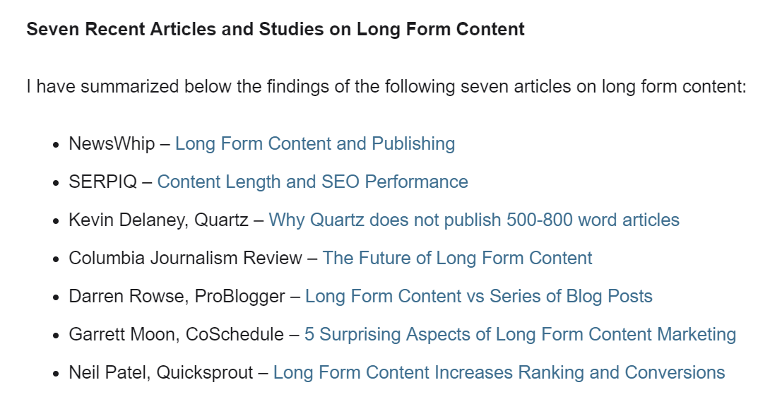 A screenshot from Steve Rayson's blog showing the articles he based his research on to endorse lengthy content.