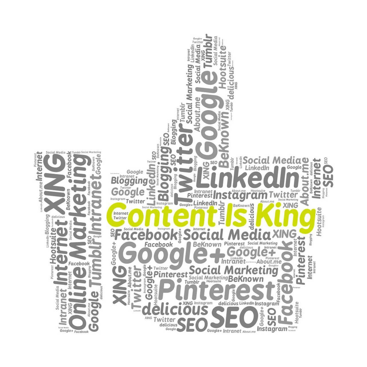 A *thumbs-up* word cloud featuring important digital terms with special emphasis on *Content is King*.
