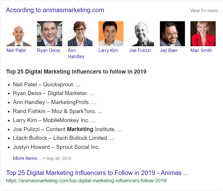 One of Google's results for top *Marketing Influencers*