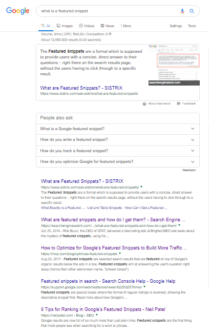A screenshot of search results for the query *Featured Snippet*. The image depicts a featured snippet ranked at the top of search results