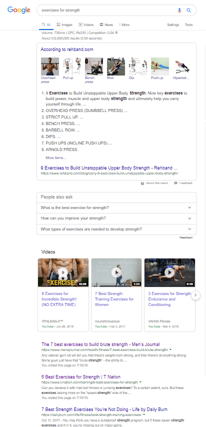 A screenshot of our search query on *exercises for strength* in comparison to Neil's search for the same query.