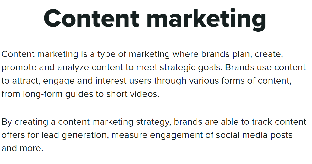Screenshot of SproutSocial's Glossary for the definition of Content Marketing