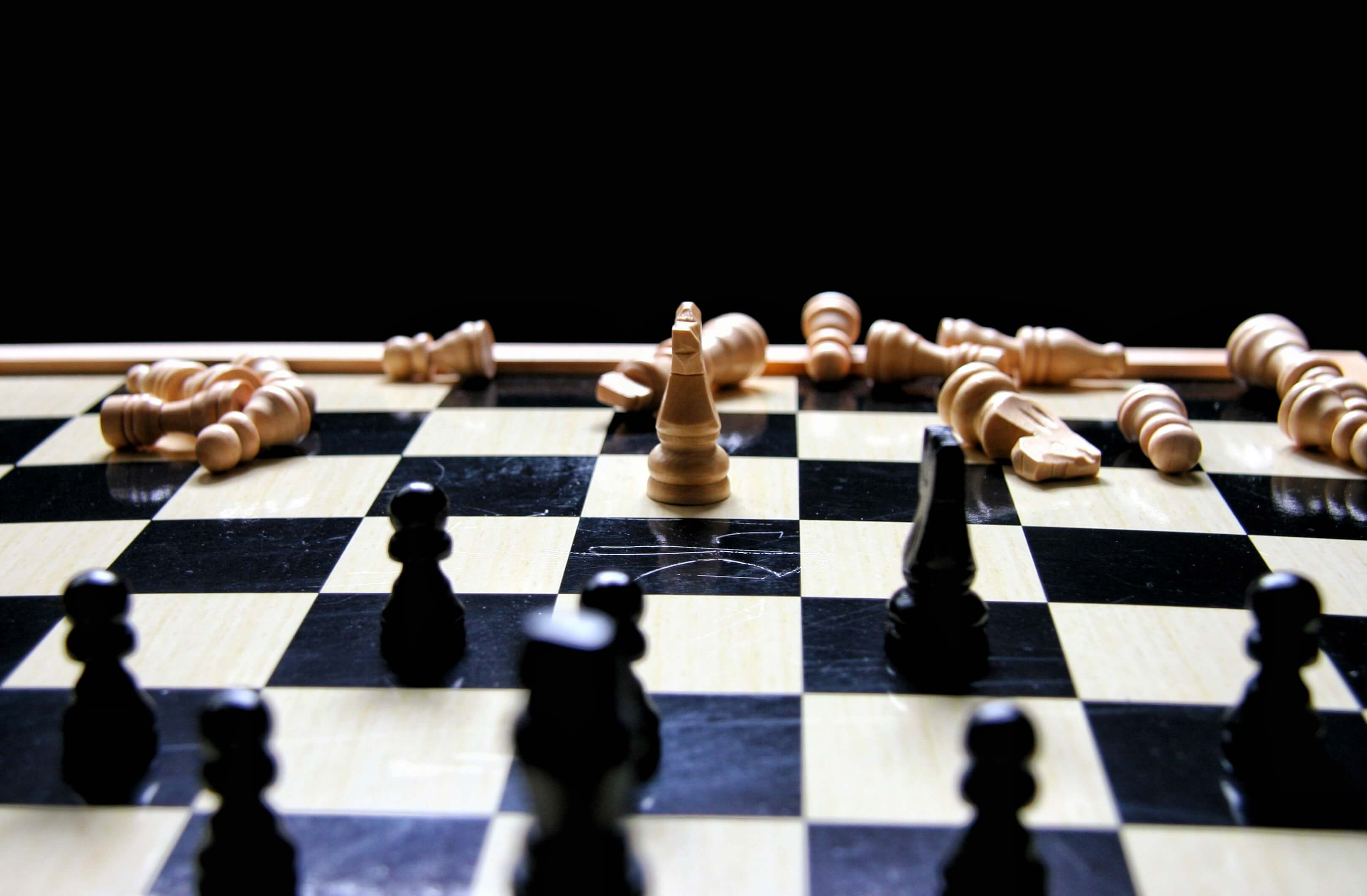 A chess game being played