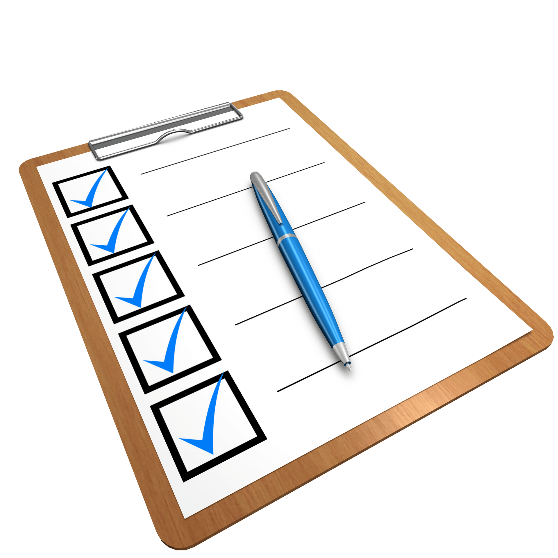 A wooden clipboard with a white checklist on it. The list has 5 blue-colored tick marks in black outlined boxes and a blue and silver writing pen placed over it.