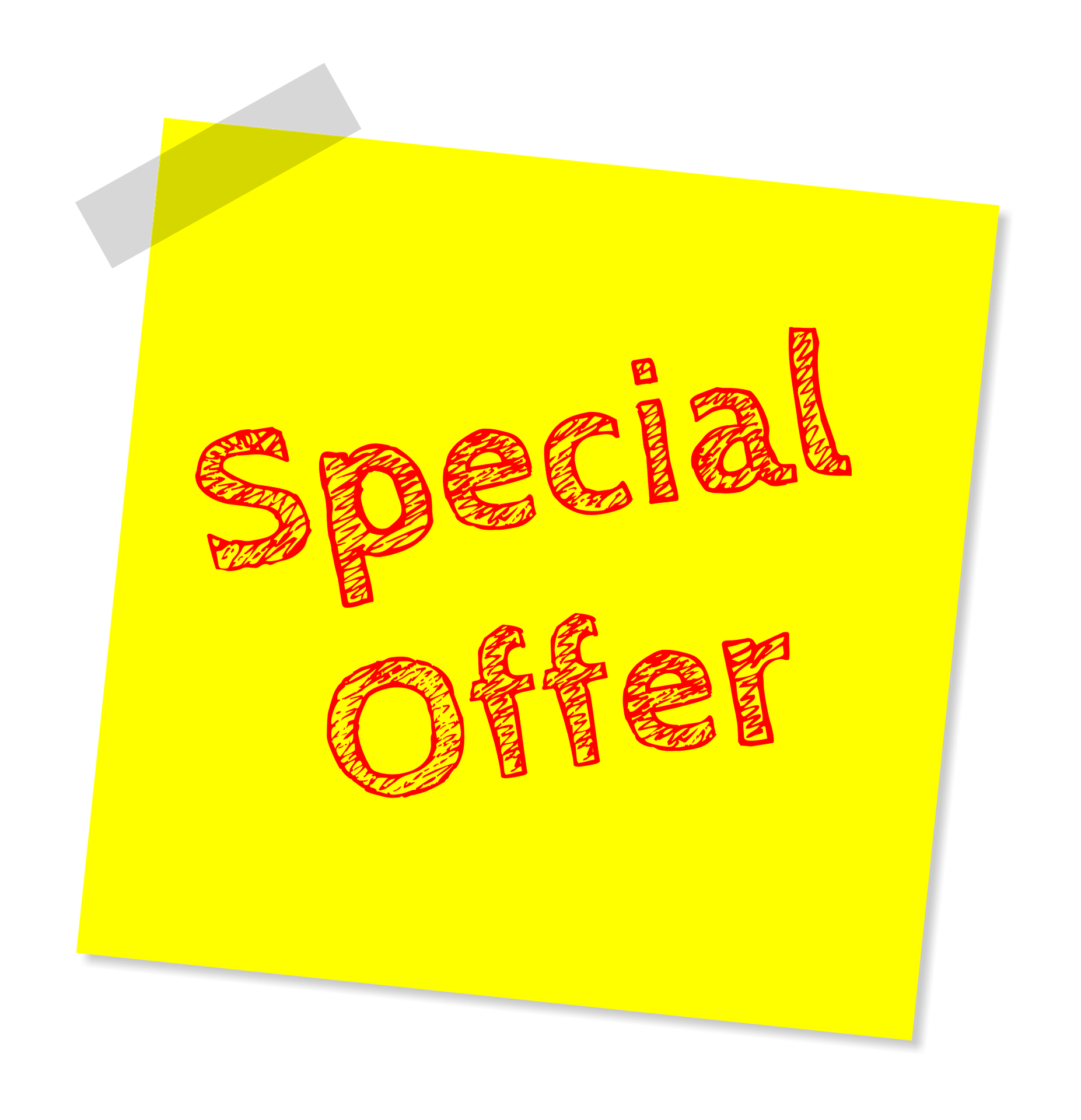 A yellow sticky note having the words *Special offer* written on it in red color.