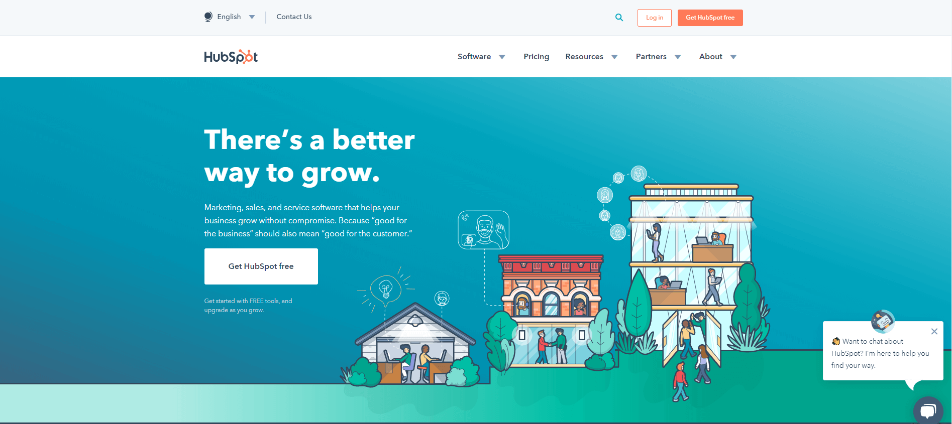 A screenshot of HubSpot's home page.