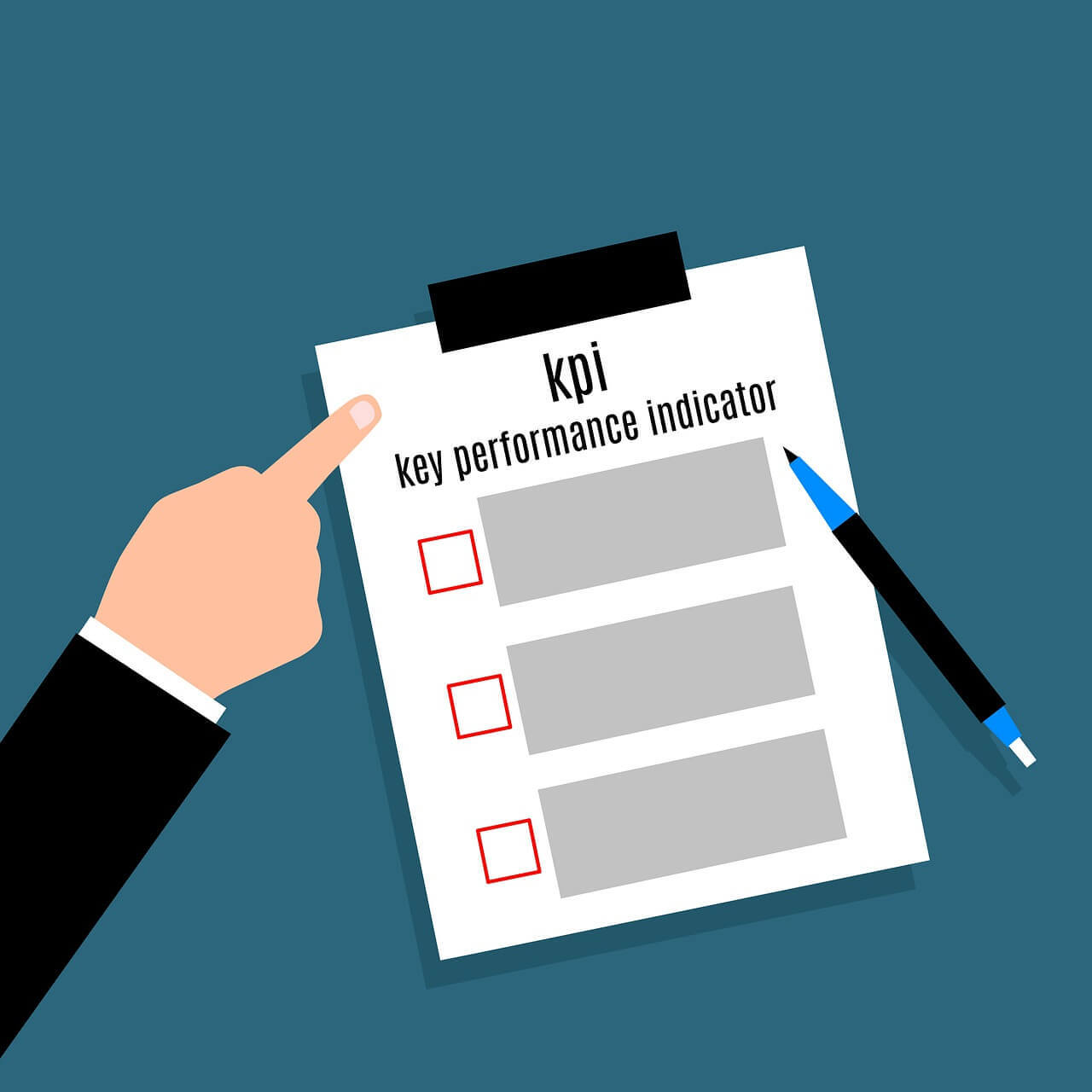 A paper on clipboard saying *KPI* with a checkable list and a pen placed on it. An arm is pointing towards it.