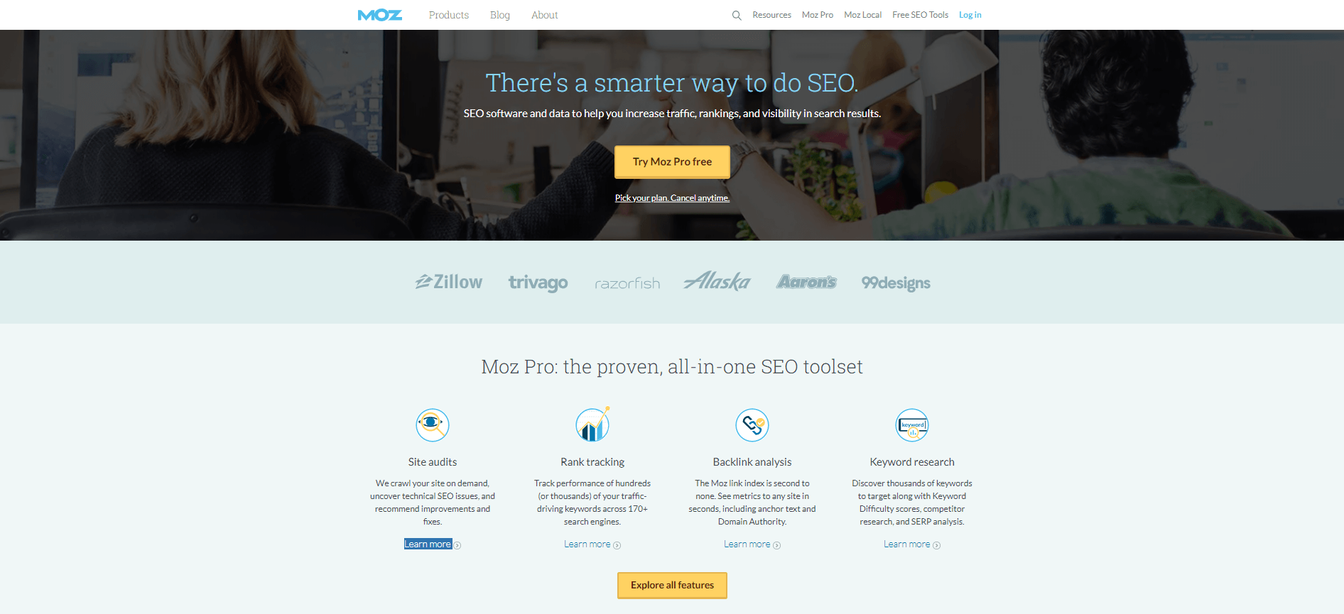 A screenshot of the MOZ services page.