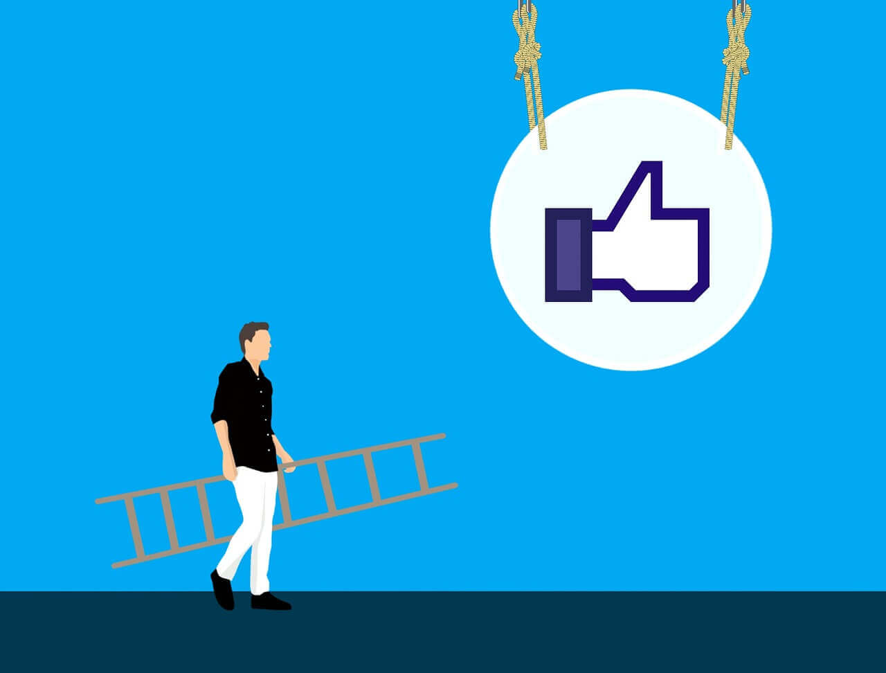 Illustration of a person carrying ladder to the hanging symbol of *like* on Facebook.