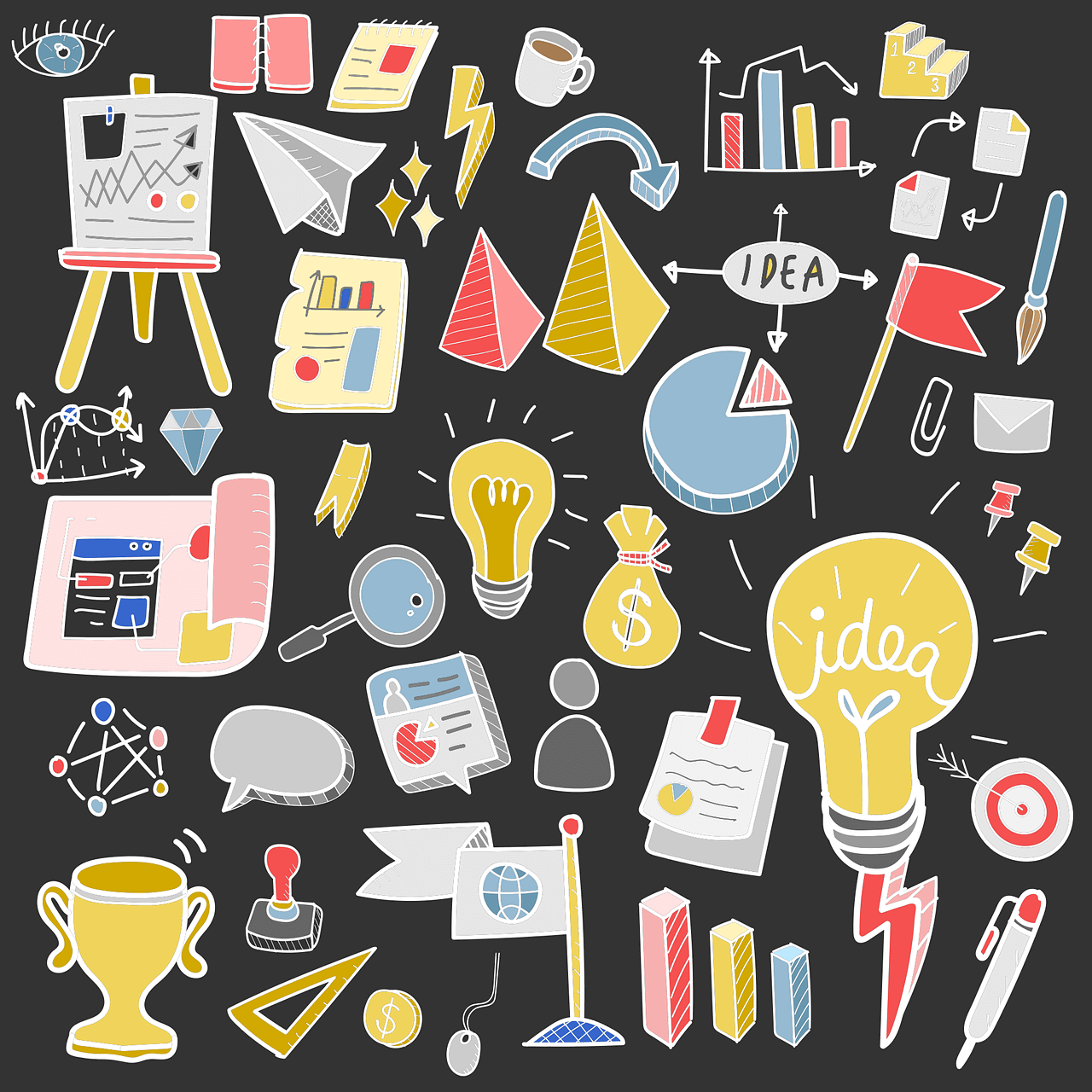 Illustrations of several tools and resources for Content marketing along with a symbolic representation of results
