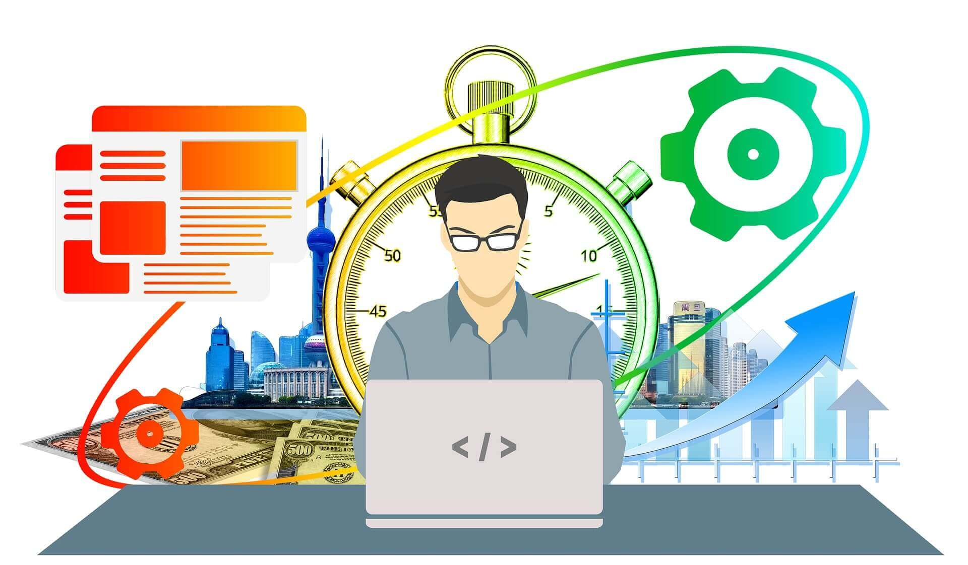 An illustration where a freelancer is working on his laptop, having symbols of tools, clock, growth, and money in the backdrop
