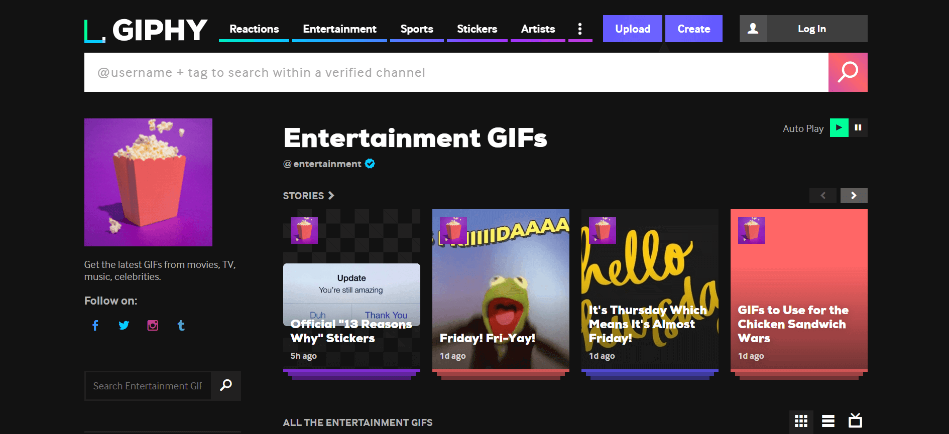 A screenshot of GIPHY-a powerful GIF designing and selection tool