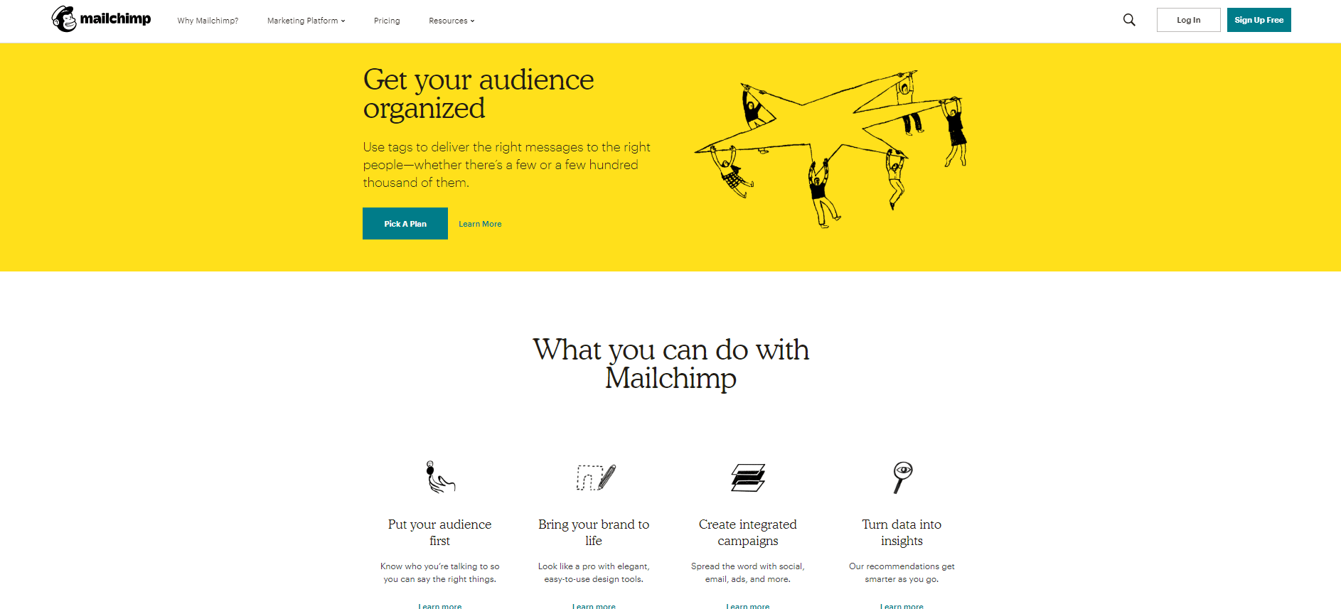 Screenshot of Mailchimp's website-a Content Marketing automation tool for Email marketing.