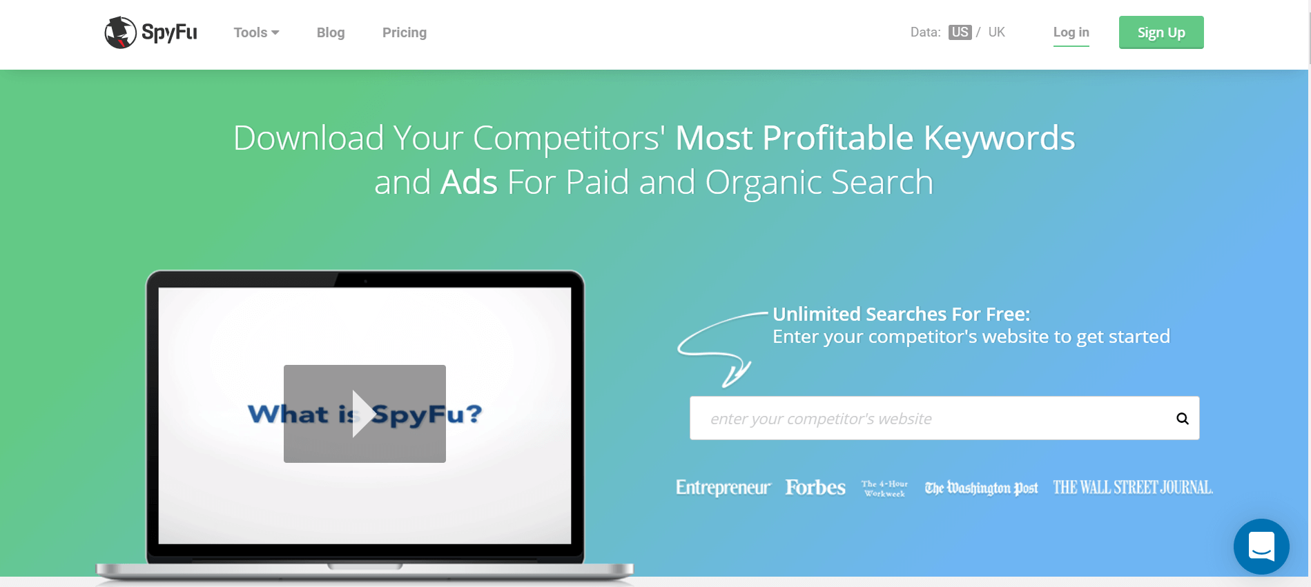 Screenshot of SpyFu website, a Content Marketing tool for your competitor's keyword and Ads search.