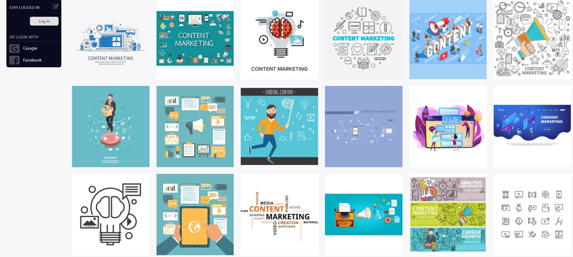 A screenshot of VectorStock results for the search query *Content Marketing*.