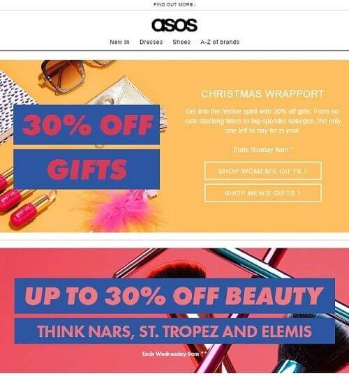 A special offer email sent out to subscribers by ASOS for 30% off the purchases before Christmas.