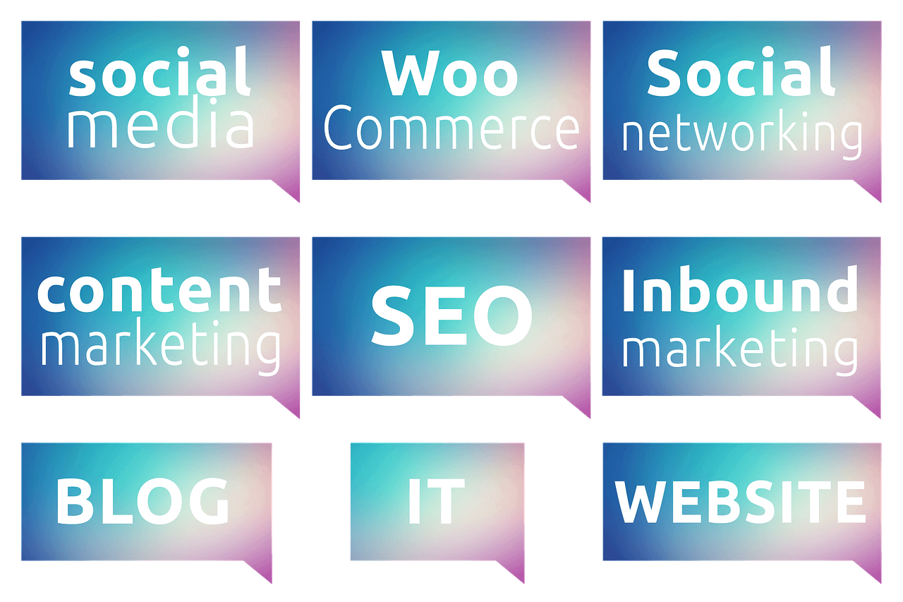 9 cards with terms related to internet marketing, written on them.