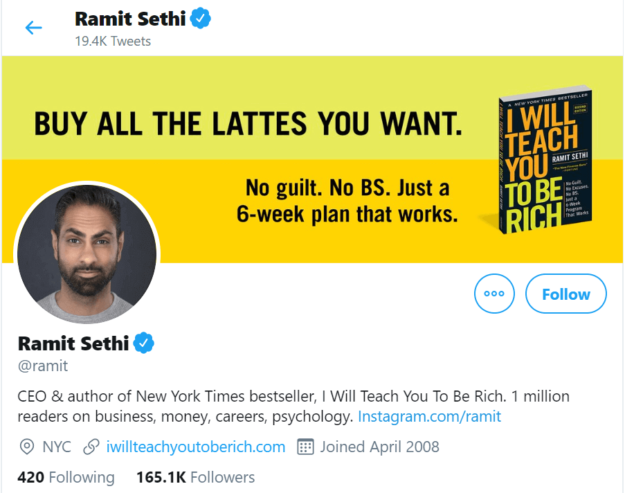 A screenshot of Ramit Sethi's Twitter profile. The profile shows that he is the author of bestseller courses and an avid and popular social media user.