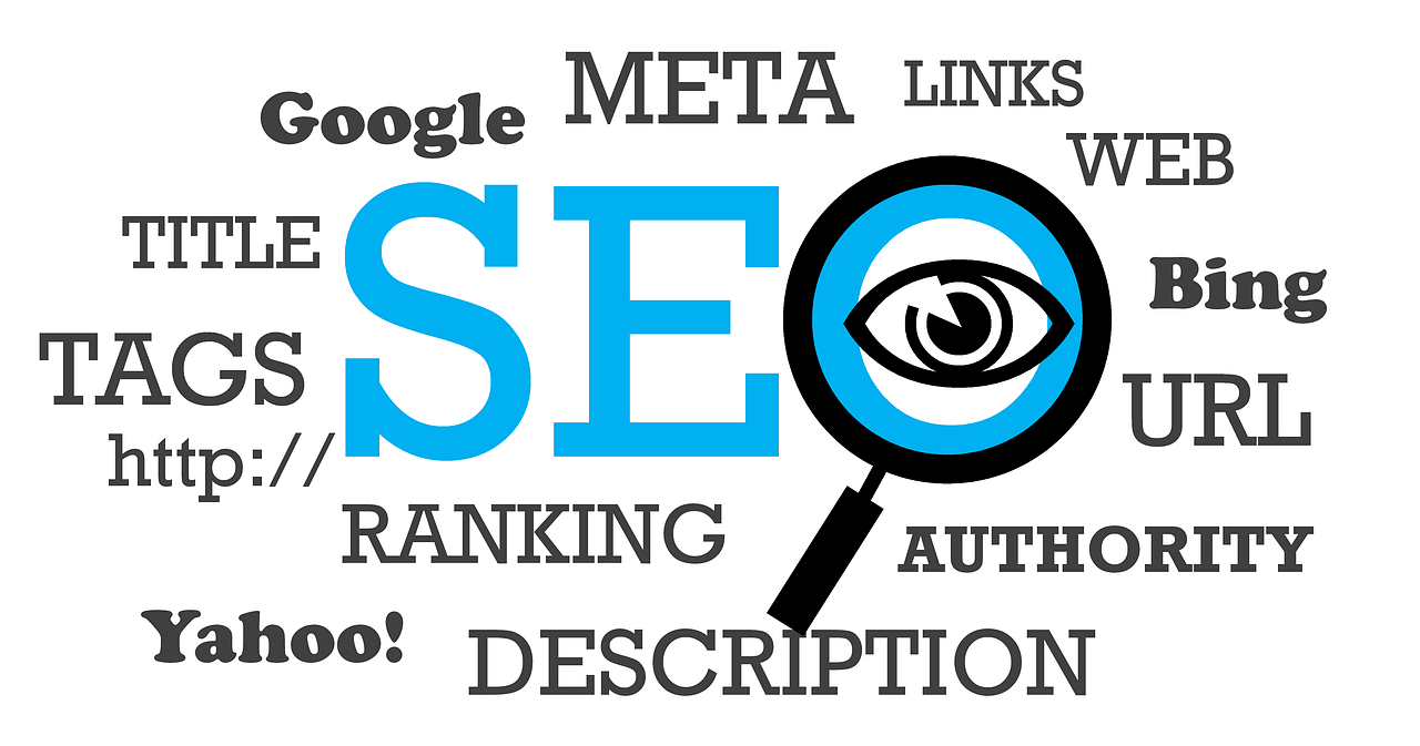 "A magnifying glass depicting the ""O"" of ""SEO,"" written as the main content in the center. The other relevant terms like Google, Bing, Yahoo, Tags, Http://, Authority, Links, Title, etc. surround the primary term, SEO."