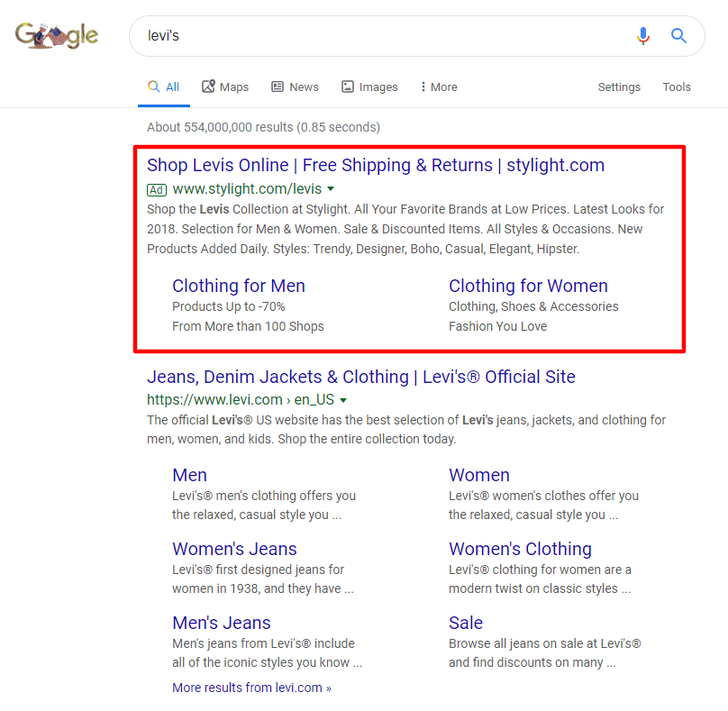 Branded Ad campaigns of Levi's. The ad of Levi's shows up over the organic results when someone searches for the brand name.