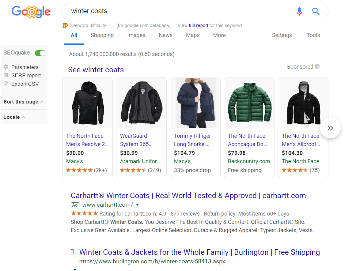 Google shopping ads for the search query *winter coats*.