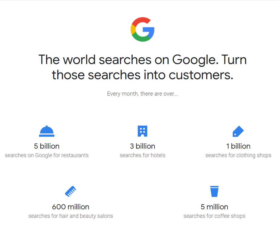 Alt-text: A screenshot of Google My Business depicting the industry-specific number of searches per month.