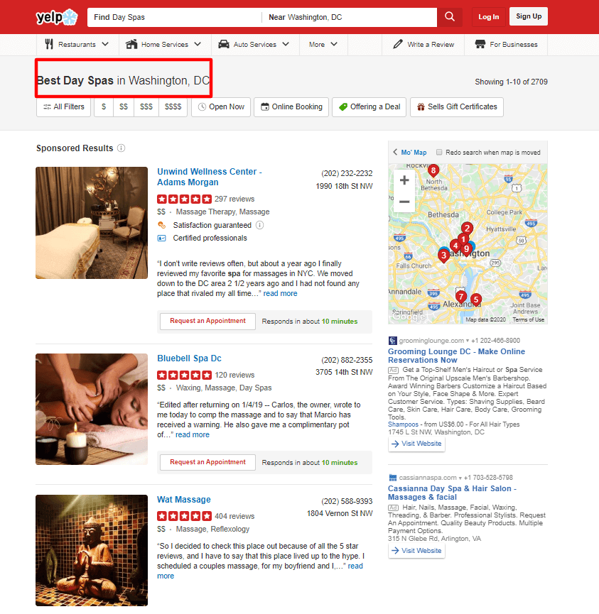 YELP top search results for the query *Best Day Spas in Washington, DC*.
