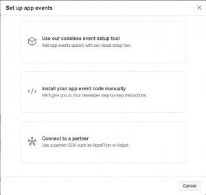Set up App events menu with three options