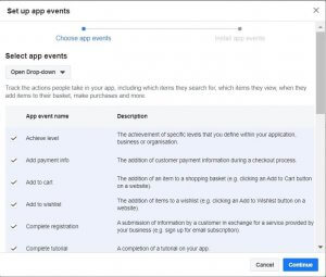 Setting up app events: the menu with the action people take that you might want to track