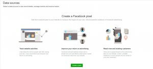 Facebook Pixel creation - starting point that features benefits of the pixel and a call to action to get started.