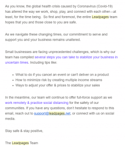 A leadPages team email for sharing resources to help business owners get through the COVID-19 outburst.