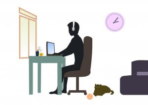Cartoon depiction working from home. A person is sitting on a chair with the laptop in front of him on a table. There's a window behind the table and a cup on tea right next to the pencil container on the table. A cat is sitting next to the chair with a ball and there's a clock on the wall next to the person.