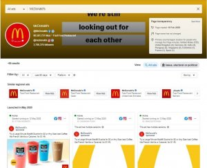 A screenshot of the ads library with the information on McDonald's.