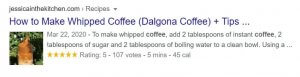 A rich snippet on SERP on the Search query - Dalgona Coffee.
