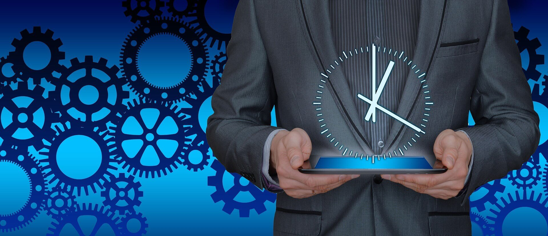 A person is holding a tablet with a clock out of it. The blue colored background symbolizes the execution and optimization processes.