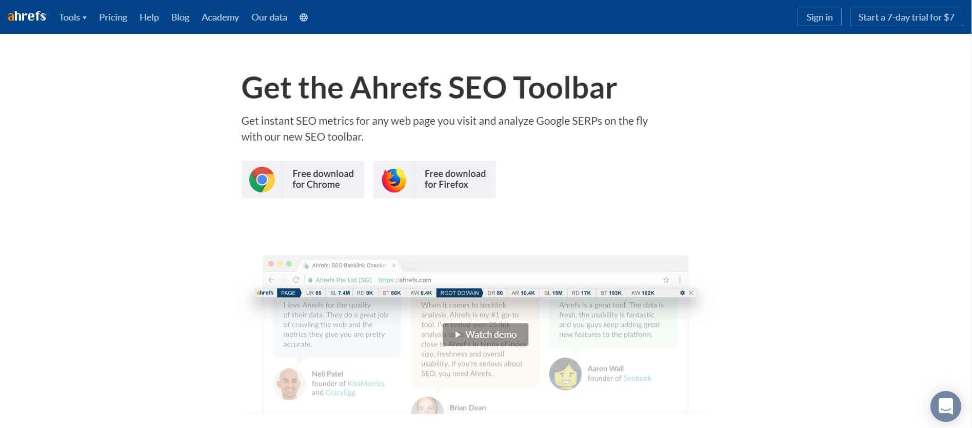 A preview of Ahrefs SEO Toolbar browser extension page on the website. It's a free SEO tool for visualizing your technical data.