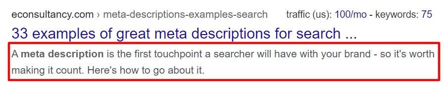 The screenshot showing the meta-description - an important SEO factor for blogs - of a search result.