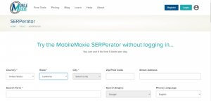 A view of Mobile Moxie's SERPerator - A free SEO Tools Platform.